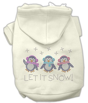 Let it Snow Penguins Rhinestone Hoodie Cream S (10)